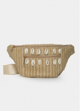 Straw belt bag with shells in beige