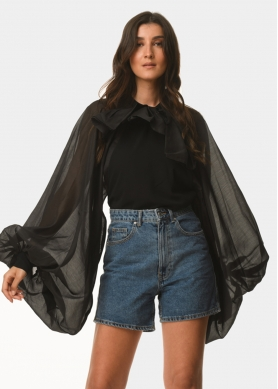 Big-sleeves see-though blouse