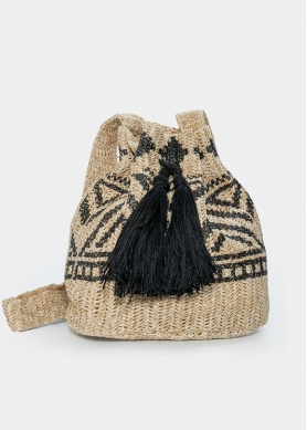 straw pouch with black design