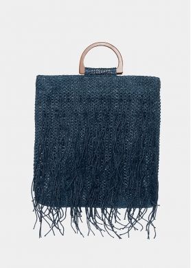 straw bag with fringes in navy blue