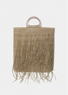 straw bag with fringes in beige