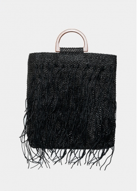 straw bag with fringes in black