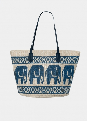 straw bag with blue print