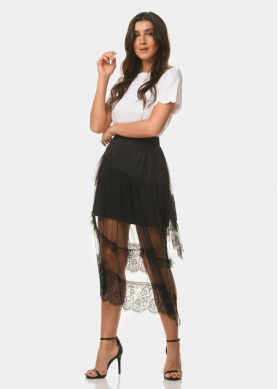 black laced see-through skirt