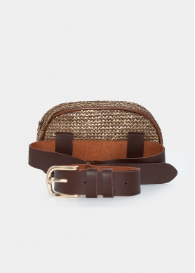 straw small belt bag in brown rose gold