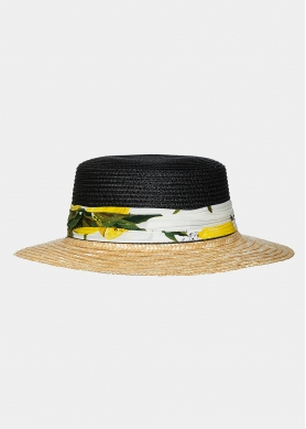 Black & beige straw hat with ribbon