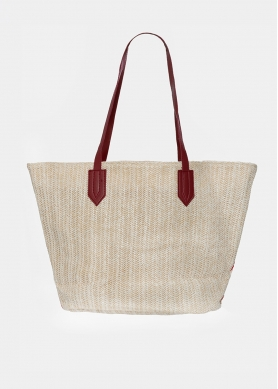 straw bag with red print