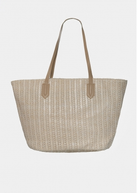 straw bag with azure print