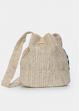 straw pouch with blue design