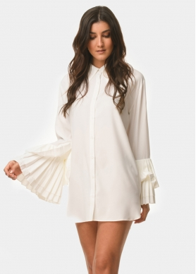 pleated sleeves shirt-dress