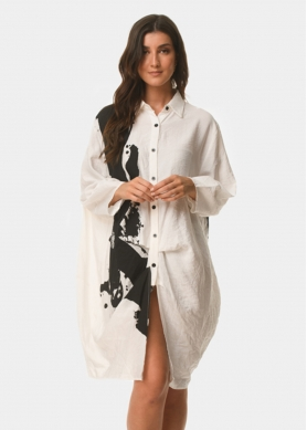 White shirt-dress with black paint