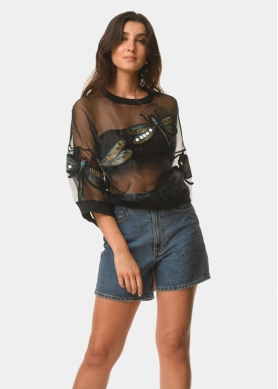 See-through blouse with embroidered dragonflies