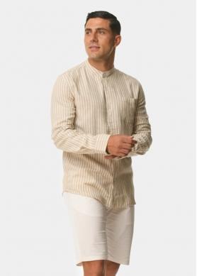 Mandarin linen stripes beige & white